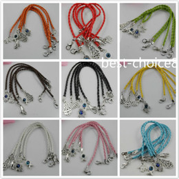 Free Shipping 100pcs Mixed HAMSA HAND Evil Eye String Bracelets Lucky Charms Leather HOT