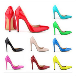 2016 Plus Size 35-42 Neon Yellow Thin Heel Pointed Loyal Blue Women's Pumps High Heels Red Bottom Vintage Sexy Women shoes
