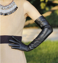 "60cm(23.6"") real leather opera long evening gloves top long leather gloves black"