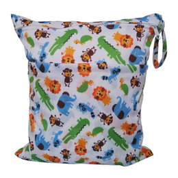 Wholesale Lowest Price coloful Double Zipper design baby owl diaper wet bags bags in one Waterproof Reusable Baby Cloth Diaper Wet Bag Size cm