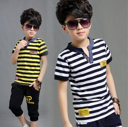 2016 new summer boys active striped sports cotton clothing sets children casual t-shirt capris 4-15years boy clothes suits