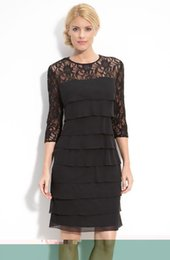 Wholesale 2015 new Fashion Alex Evenings Tiered Chiffon Lace Sheath Slim Dress