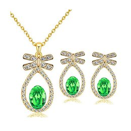 Austria Crystal Pendant Jewelry Set Fashion Water Drop Gold Silver Diamond Necklace Earrings For Bride Jewelry 8224