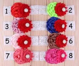 2015 Hot Lovely Baby Lace Shabby Chiffon Flower Headbands Kids Elastic Rhinestone Hairbands Hair Accessories Rose Flower Hair band Headwear