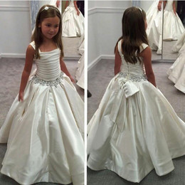 New 2016 Flower Girl Dress For Wedding Spaghetti Satin Ball Gown Dress Sleeveless Bow Beads With Rhinestone Sash Ruffle Gril Dress