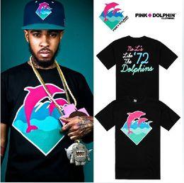 New Summer Fashion street style dolphin printed t shirt pink dolphin t shirt hip hop tee shirts big size short sleeve tees