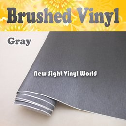 Wholesale Thickness mm High Quality Brushed Metallic Grey Vinyl Wrap Brushed Gray Car Wrap Air Bubble Free Size M Roll
