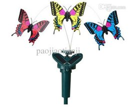 Wholesale New Solar Power Dancing Flying electric Butterfly Butterflies exotic toys insect toys Hot best kids gift Garden Yard Decor
