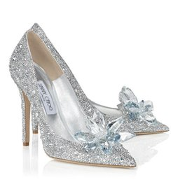 Wholesale 2017 Europe Crystal Evening Party Shoes Sparkly Sequins Pointed Toe Silver High Heels Bridal Wedding Shoes Cinderella Glass Slipper Shoes
