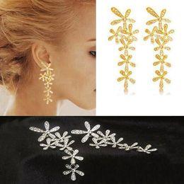 Fashion Full Rhinestone Crystal Long Snowflake Flower Dangle Drop Tassel Earrings Gold Silver Sale Fast Shipping