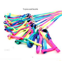 Free Shipping 2015 Pet Puppy Leash Multiple Walking Dog Pet Leash Training Lead Collar dacron Harness Rainbow Rope 1.0*120CM Pet Supplies