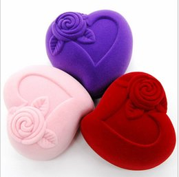 New Velvet Ring Box ring box, heart shape Jewelry Display Gift Case,sold per bag of 10 pcs