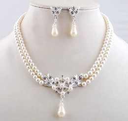 Silver Tone Double Strands Six Color Faux Pearl Rhinestone Crystal Bridal Jewelry Necklace Sets with earrings