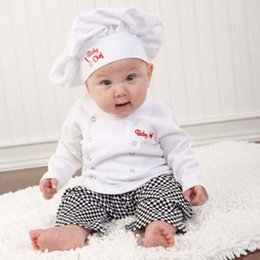Wholesale-2015 New Fashion children's Clothes Boys double-breasted long-sleeved shirt + black white plaid trousers + hat three Chef suit