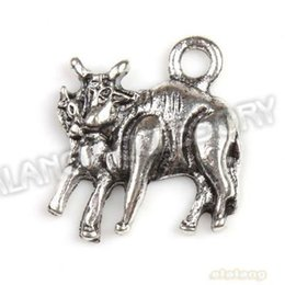 Wholesale Alloy Two Cattles Antique Silver Plated Charms Pendants Fit Handcraft Making x16x3mm