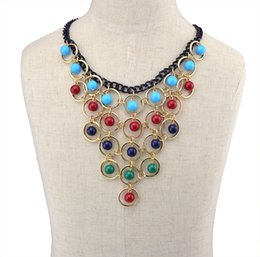 Bohemian Blue Red Colorful Tassels Multilayer Beads Statement Choker Necklaces & Pendants Fashion Jewelry For Woman