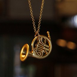 Wholesale-New Romantical Quality How I Met Your Mother Blue French Horn Gold French Horn Pendant Necklace