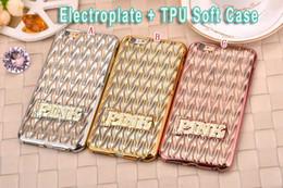 Rosa de lujo de Bling electrochapa la caja del teléfono de TPU suave silicona Claro Wave 3D, alejado para Iphone 6S 6 Plus 5.5 4.7 pulgadas piel I6S de oro rosa desde iphone bling la rosa fabricantes