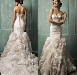 Wholesale Amelia Sposa Design Ivory Stunning Ruffles Lace Organza Train Mermaid Wedding Dresses Sweetheart Lace up Trumpet Wedding Gown