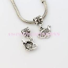 Wholesale 23 x15 mm Antique Silver Tea Pot Big Hole Beads Dangle Fit European Charm Bracelets Jewelry DIY B405