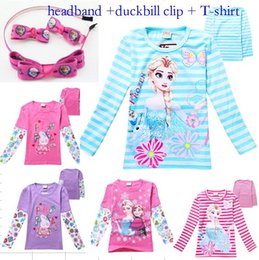 Wholesale NEW headband duckbill clip long sleeved T shirt Girls FROZEN Pepe pig kid Cartoon Clothing clothes t shirts Y