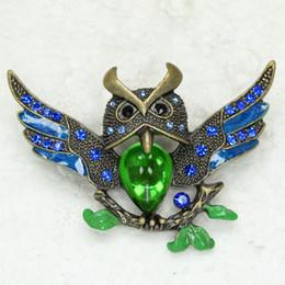 Wholesale C865 Crystal Rhinestone Enameling Owl Pin Brooch