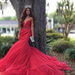 Wholesale Mermaid Red Sexy Wedding Dresses Applique Online Strapless Cheap Halloween Party Wear Gowns Beauty Formal Occasion Luxury Wedding Dress