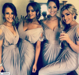 2015 Elegant Silver Gray Mermaid Bridesmaid Dresses Satin V-neck Cap Sleeves Hot Sale Cheap Wedding Party Gowns Maid of Honor Dress