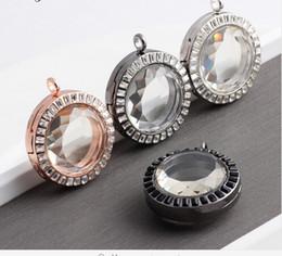 new 10pcs lot NEW 2015 33MM Round Rhinestone Floating Locket Necklaces & Pendants Alloy Magnetic Glass Living Memory Locket