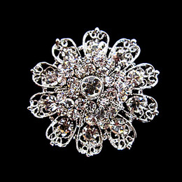 Rhodium Silver Plated Clear Crystal Rhinestone Bridal Beautiful Round Flower Brooches and Pins For Wedding Bouquet