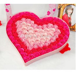 Wholesale Hot Sale Rose Soap Flower Rose Flower Heart Shaped Gift Box Soaps Natural Handmade Colors For Valentine s Day Gift DHL Free
