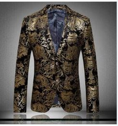 Wholesale Free Shipping Men Gold Suits Luxury Print Casual Floral Jaqueta De Luxo Blazer Jackets Coat Outwear