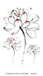 Transfert d'eau autocollants de tatouage en Ligne-RC2229 imperméable faux tatouage autocollants colorés fleur d'eau Lotus fleur grande conception transfert d'eau tatouages temporaires autocollants