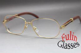 Promotion or gros cadres lunettes Gros-New Unisew 569 Eyeglasses bois Agrandir 18K or Lunettes Taille de l'image: 61-15-135mm