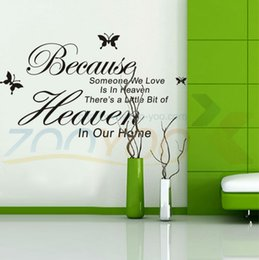 Wholesale Because Someone We Love Is In Heaven wall decal ZooYoo8128 decorative adesivo de parede removable vinyl wall sticker