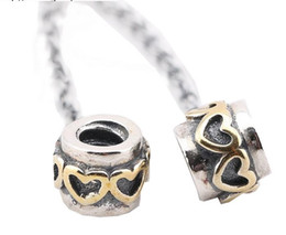 100% Sterling Silver Charms 925 Ale Gold Heart European Charms for Pandora Bracelets Safety Chain Free Shipping