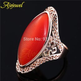 FG Vintage Retro Style Brand New Rose Gold Plated Orange Opal Big Stone Rings Designs 2014