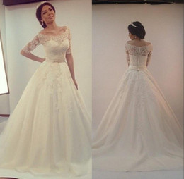 Wholesale Custom made Elegant Lace Appliques Wedding Dresses Long Bridal Gown With Sash Half Sleeves A line Wedding Gowns Cheap Vestido de novia