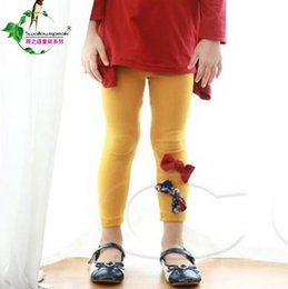 Wholesale Girls Leggings Spring New Korean Style Children Casual Pants With Bowknots Pure Cotton Kids Trousers Fit Age T1902