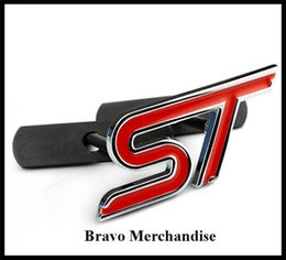 Wholesale Exterior Accessories Emblems Metal material car front hood grille grill badge with ST automobile logo badge emblem brands