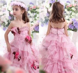 Pink Princess Girls Pageant Dresses With Handmade Flowers 2015 Spaghetti Tiered Ball Gown Flower Girls Dresses For Wedding Girls Party Gown