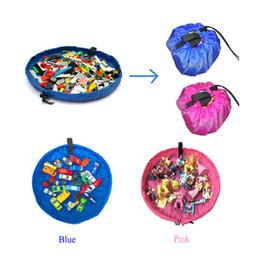 Portable Kids Toy Storage Bag Play Mat Lego Toys Organizer Bin Box 45cm Pink