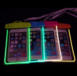 2018 Universal LED Luminous PVC Waterproof Pouch swimming Water Proof night light Bag pocket Underwater bags For iPhone 8 7 6s plus s9 sale