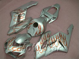 Injection mold Motorcycle fairing kit for HONDA 2004 2005 CBR 1000R red flames in silver aftermarket CBR1000RR 04 05 fairings set XB16