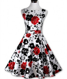 Wholesale Newest Hepburn Retro s Style Vintage Sheath Print Printed Dress Slim Big tutu Dress Size S XXL