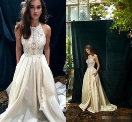 Lihi Hod 2019 Ivory Lace Boho Wedding Dresses with Pocket Elegant Jewel Neckline Back Zipper A Line Beach Bridal Gowns Custom Made