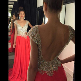 Crystal Pink Prom Dresses Sexy V Neck Chiffon Backless Long Evening Party Gowns Formal Dreses
