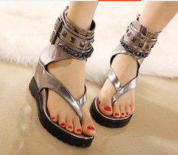 2015 summer new ankle straps rivets flip flops women sandals wedges high heels shoes 7cm