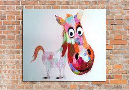 2017 окрашенная лошадь Ручная роспись абстрактные Cute Horse Art маслом на холсте Home Decor Hang группа картин доступный окрашенная лошадь
