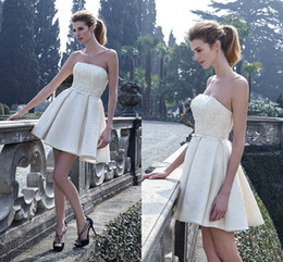 2016 Spring Short Reception Wedding Dresses Mini Length Satin Beaded Pearls Wedding Gowns Sexy Ivory Bridal Dress Zipper Back Strapless